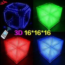 DIY 3D 16 s LED אור Cubeeds עם אנימציה אפקטים/3D CUBEEDS 16 16x16x16 3D LED/ערכות, 3D תצוגת LED, חג המולד מתנה