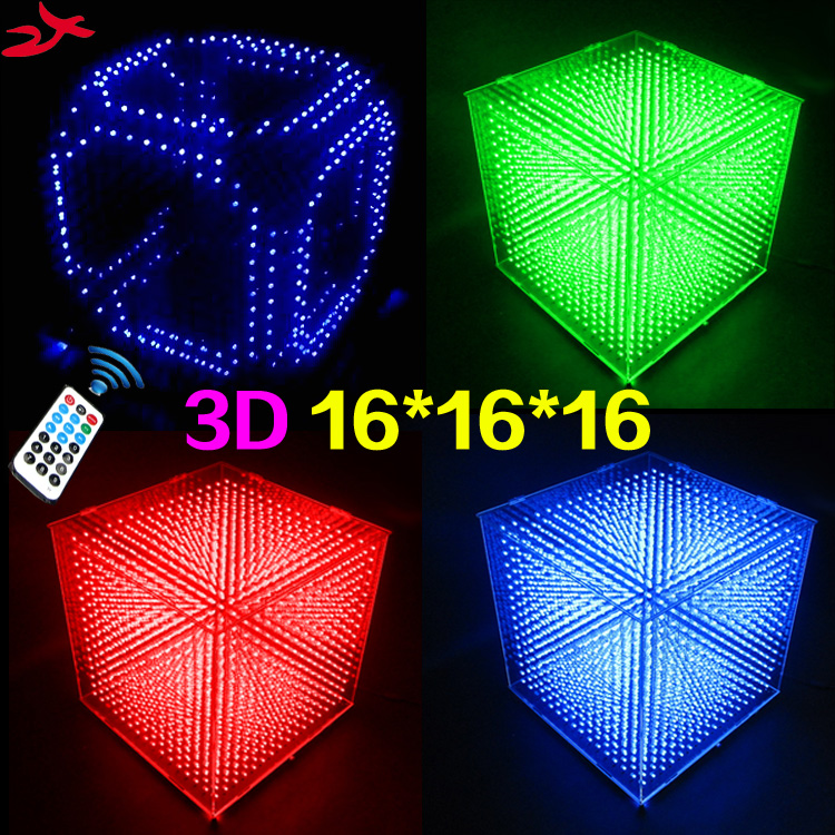 DIY 3D 16S <font><b>LED</b></font> Light <font><b>Cubeeds</b></font> With Animation Effects /3D <font><b>CUBEEDS</b></font> 16 16x16x16 3D <font><b>LED</b></font> /Kits,3D <font><b>LED</b></font> Display,Christmas Gift image
