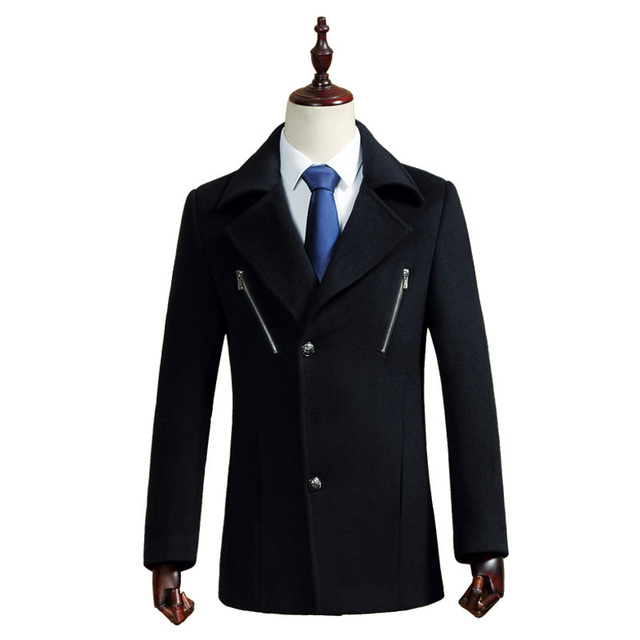 Long Cashmere Coat Men 2017 Brand New Wool & Blends Coats Men Slim Fit Woolen Manteau Homme Mens Overcoat Pea Coats Male Black