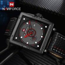 NAVIFORCE Genuine Leather Watch Men Luxury Brand Quartz Watch Analog Display Date military Watch Men Watches