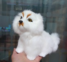 Simulation white Pekingese polyethylene&furs Pekingese model funny gift about 20*16CM
