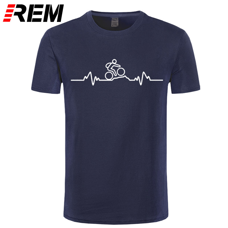 REM Mountain Biker Heartbeat Pulse Cyclinger   T  -  SHIRT   Cycle Fashion Funny Birthday 100% Cotton Short Sleeves   T     Shirts
