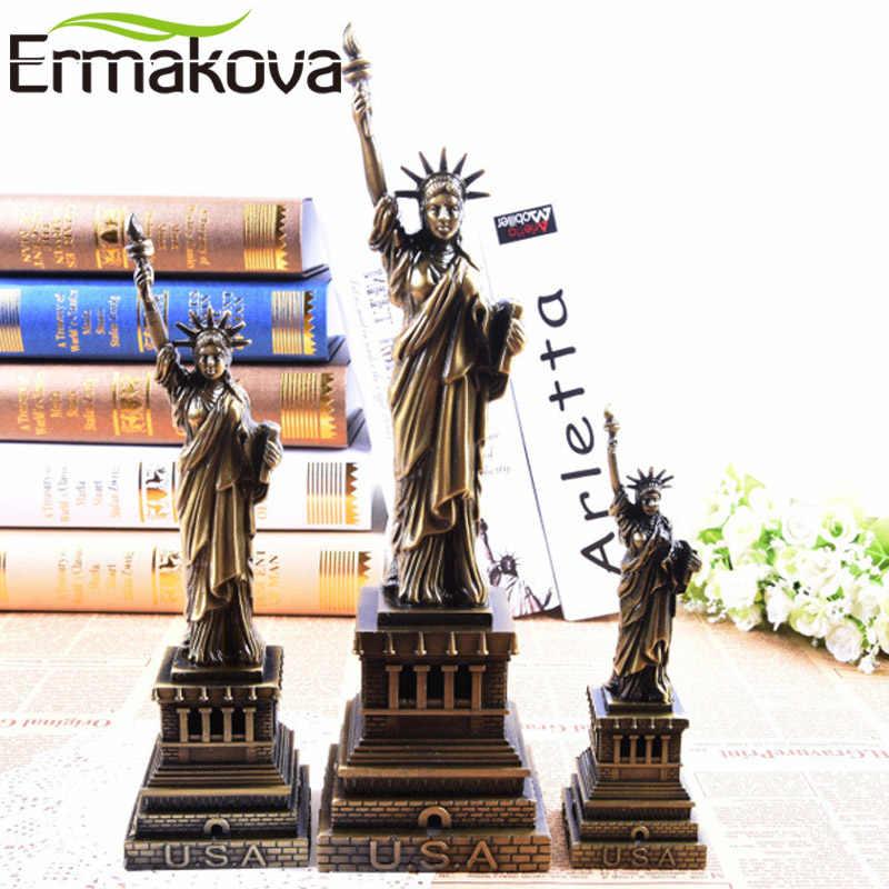 ERMAKOVA Antique Bronze the Statue of Liberty Replica Model Metal American New York Figurine World Famous Landmark Architecture