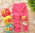 Chic sunflower bebê meninas leggings pontilhadas calças primavera outono crianças da menina da menina da criança floral calcinhas calças 1 pc ddk-15008