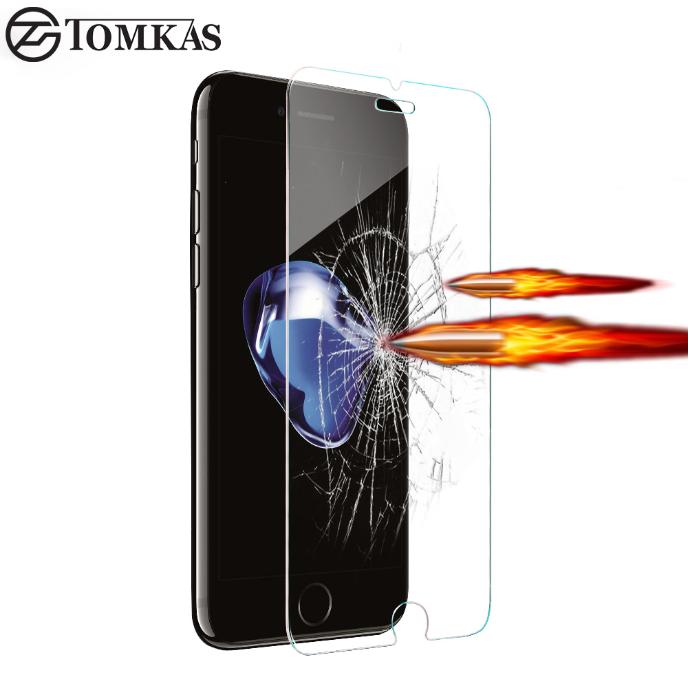 TOMKAS Tempered Glass Screen Protector For iPhone 7 / 7 Plus / 6 6S / 6S Plus / 5 5S SE 0.3MM Premium Protective Toughened Film
