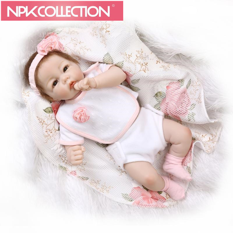 NPK 20 inch Lifelike Baby Dolls Silicone Full Body Bebe Reborn Lace Floral New Born American Girl Real Baby Fashion Dolls 50cm декор для стен