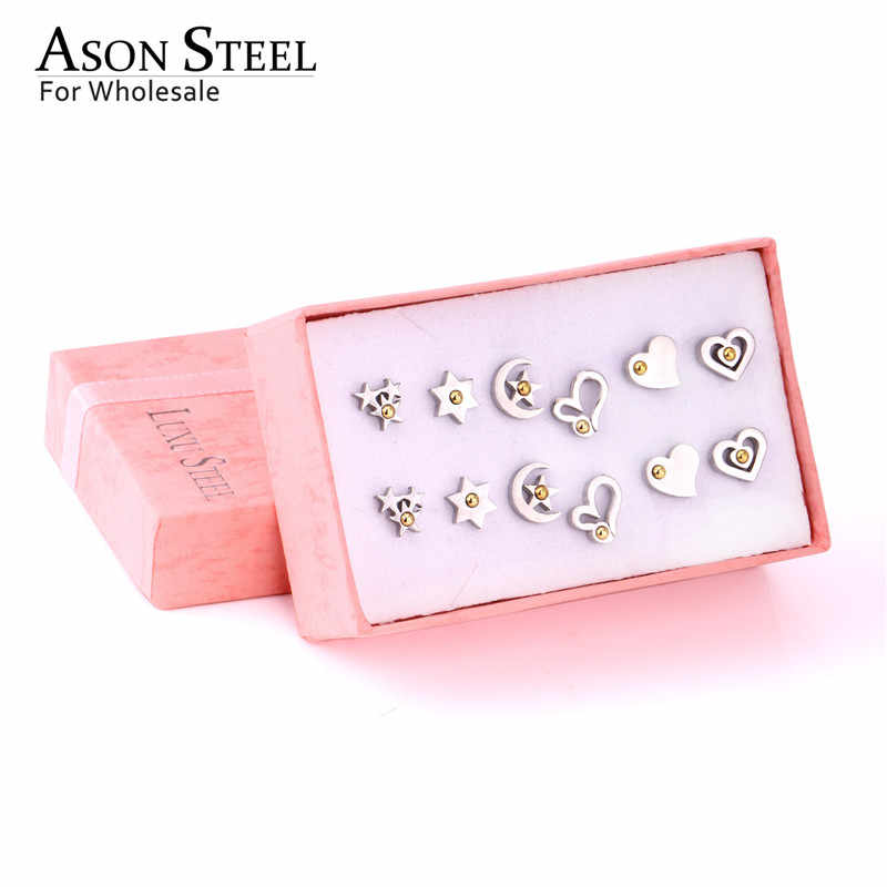 ASONSTEEL 2019 New Star/Heart Shape with Gold Ball Small Stud Earring Stainless Steel 60pairs/box Silver Earring Sets Friend