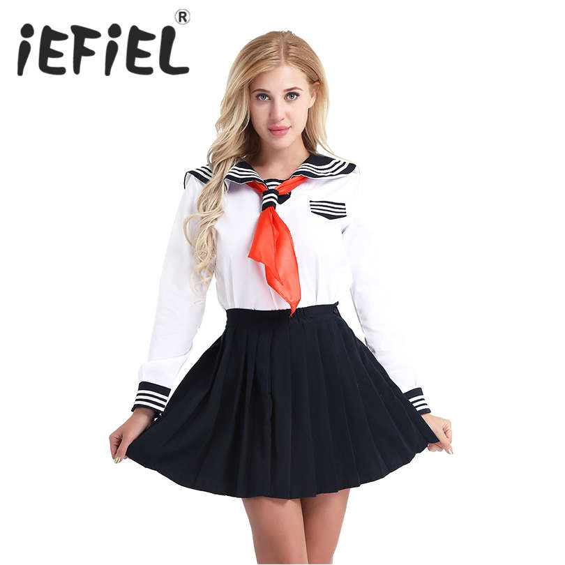 Adults Women Girls Cosplay Costume Sailor School Uniform Dress Suit Shirt with Pleated Skirt and Triangle Neckerchief Set Outfit