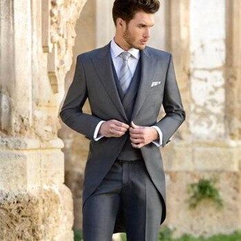 Classic Morning men suit Groom Tuxedos 2017 grey Groomsman Men's Wedding Prom mens Suits Custom Made (Jacket+Pants+Vest+Tie)