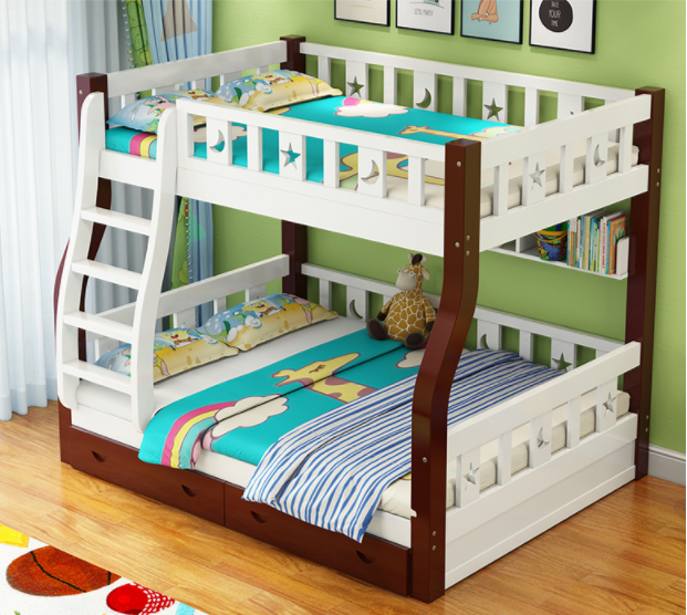 Simple Design Kids Bunk Bed Solid Wood Double Deck