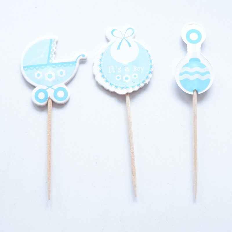 18 pcs chapéus de Coco Do Queque Do Chuveiro de Bebê Azul escolha Favorece Fontes Do Partido Decorações Do Chuveiro de Bebê É um Menino Azul Menina rosa jogo