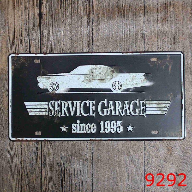 Garagem Retro Metal Signs Decoration Car Sign License Plate Decor Plaque Metal Decorative Vintage Pub Tin Signs Home Decor 15x30