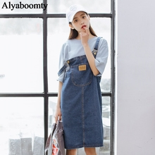 Корейский консервативный стиль, женский джинсовый комбинезон, подтяжки, синий карман, высокая талия, сарафан для девочек, элегантный винтажный, подходит ко всему, джинсовое платье