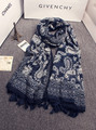 Vintage scarf for women girls Mexico style ethnic long dark blue Paisley pattern print scarf 2016 spring autumn brand muffler