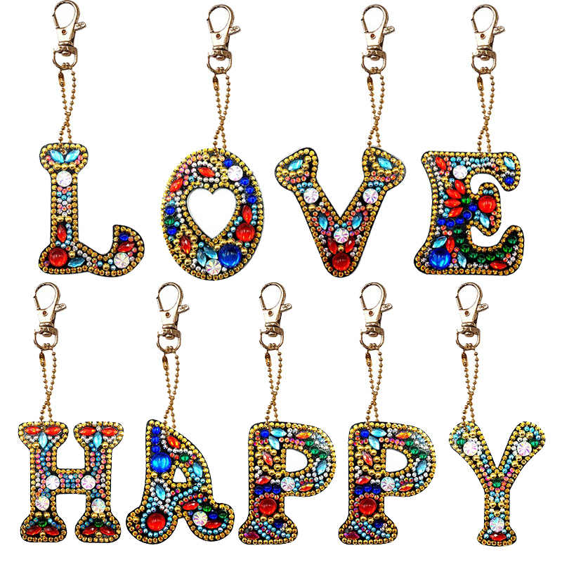 1-6pcs/set Full Drill 5D DIY Diamond Painting Love Heart Keychain Key Ring Embroidery Painting Gift Cross Stitch Needlework