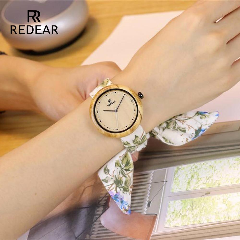 Uhren Redear Olive Holz Uhr Frauen Mit Blume Tuch Strap 2019 Japanischen Quarz Bewegung Sport Uhr Als Mädchen Tochter Mama Geschenke