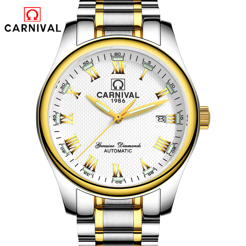 Carnival Green Tritium Watch Men Automatic Mechanical Luminous Stainless Steel Waterproof Date Roman Watches carnival green tritium watch men automatic mechanical luminous silver stainless steel waterproof date week watches