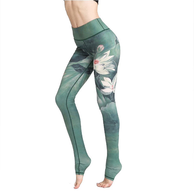Womens Yoga Pants Hessimy Printed Compression Yoga Pants Power Stretch Workout Leggings with High Waist Tummy Control