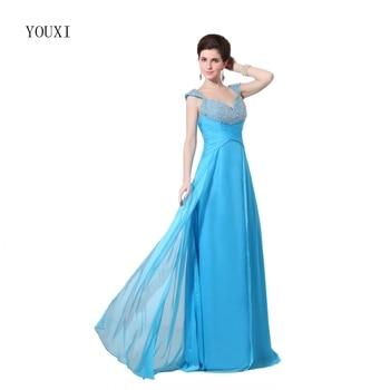 A-Line Blue Prom Dress 2019 Long Sweetheart Beaded vestidos de fiesta Formal Evening Gown Party Pageant Dresses