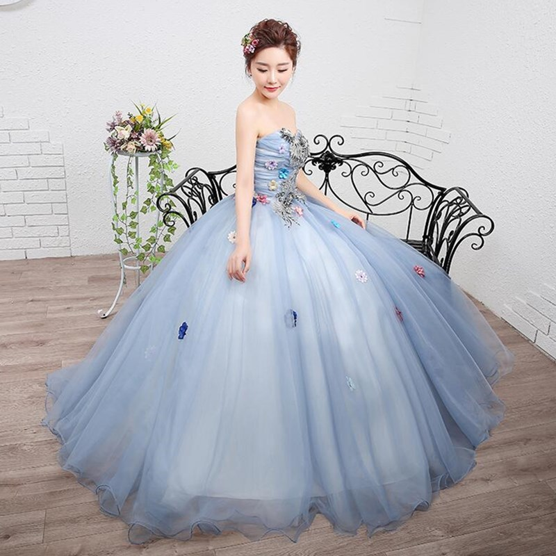 ruthshen In Stock Quinceanera Dresses Strapless Appliques Flowers Sweet 16  Masquerade Ball Gowns Cheap Debutante Prom Dress 2018-in Quinceanera  Dresses from ... 8d2bd790358d