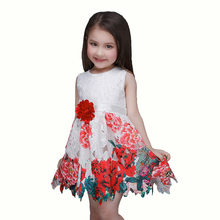 2016 Sale Baby Girl Dress Party Summer Style Dresses Casual Sleeveless Red Flowers Embroidery Children Brand Kids Clothes