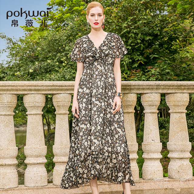 POKWAI Long Casual Floral Women Summer A-Line Silk Dress 2018 High Quality  Butterfly Sleeve Sexy V-Neck Empire Print Dresses