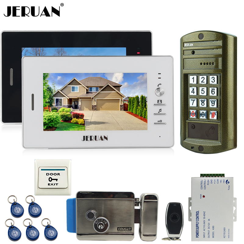 JERUAN NEW 7 inch Video Intercom Door Phone System kit 2 Monitor + Metal panel Waterproof Access Password keypad HD Mini Camera jeruan wired 7 inch video doorbell intercom door phone system kit new metal waterproof access password keypad hd mini camera 1v3