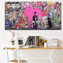 YWDECOR Pop Banksy Art Graffiti Charlie Chaplin Famous Person Oil Painting HD Print on Canvas Modern Wall for Living Room