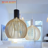 Modern White Black Wood Bird Cage E27 Bulb Pendant Lights Nordic Home Decor Bamboo Weaving Industrial Wooden Pendant Lamps