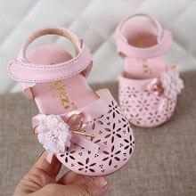 2019 Summer Baby Kids Fashion Cut-outs Sandal Shoes Girls Princess Flower Flat Children Bow Soft Size 21-25