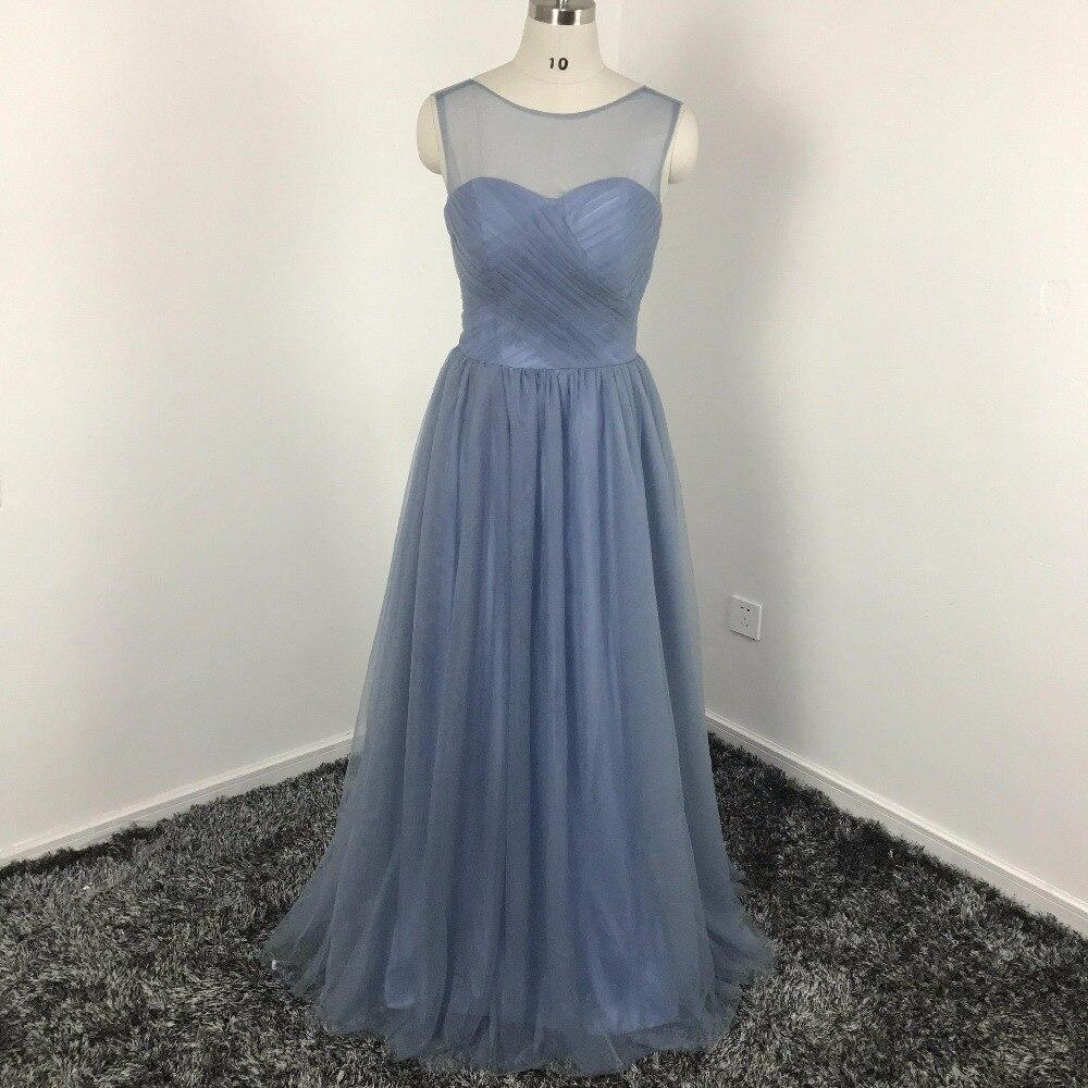Elegante Staubige Blaue Tüll Brautjungfer Kleider 2018 Illusion Bateau Ausschnitt Faltet Mieder Eine Linie Bodenlangen in Elegante Staubige Blaue ...