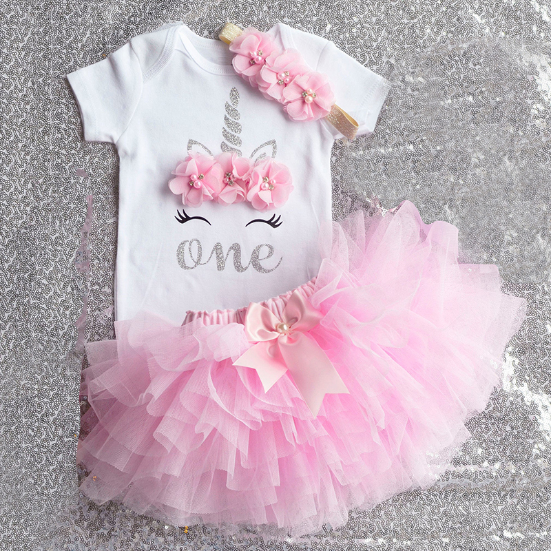Baby Girl 1st Birthday Party Romper Top Skirt Dress Outfit Set Tutu Clothes Pink