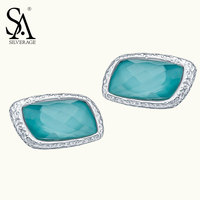SA SILVERAGE Real 925 Sterling Silver Stud Earrings Blue Gem Stone Aquamarine Earring For Women Square