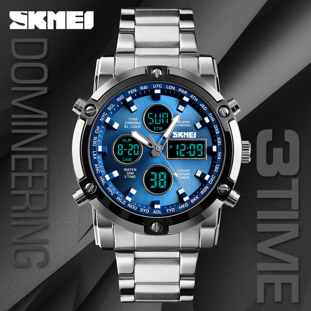 SKMEI Digital Quartz Watch Men Outdoor Sports Countdown Waterproof Stainless Steel Strap Wristwatch Men Clock Relogio Masculino