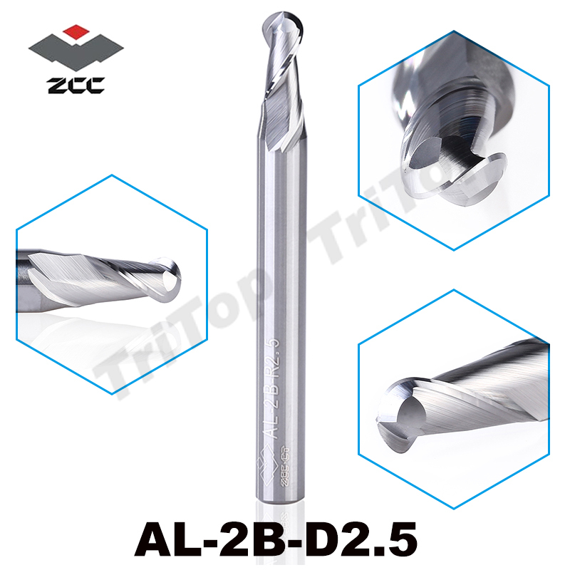 2pcs/lot ZCC.CT AL-2B-R2.5 solid carbide 2 flute ball nose cnc  end mill d 5.0 r2.5 mm straight shank milling cutter