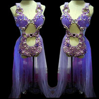 Purple Shell Pearl Crystals Bodysuit singer Sparkling sexy female costumes Fashion slim performance Bar DJ show nightclub prom