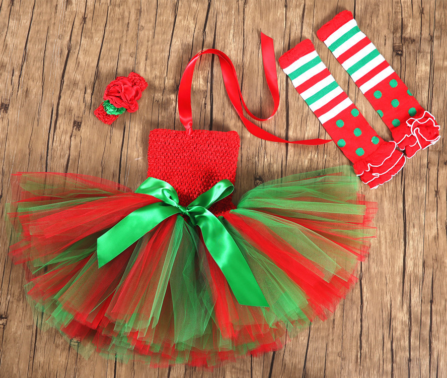 Christmas Elf Dress Girls New Year Tutu Skirt For Baby Children Merry Christmas Party Cosplay Costume Princess Dress Performance