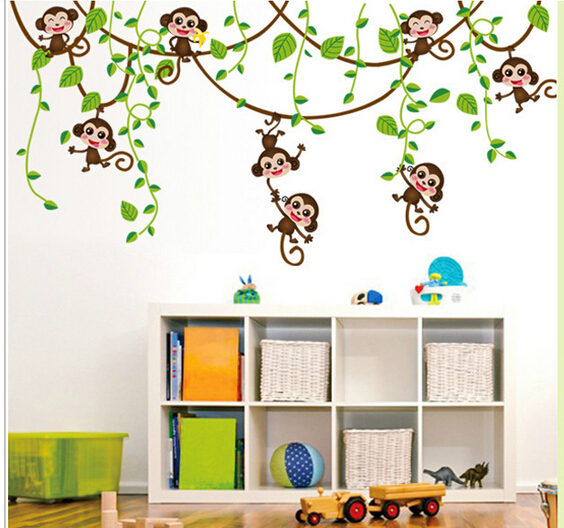 wall stickers home decor green leaf monkey tv wall background wall