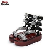 Platform Women Sandals Casual Patchwork Gladiator Shoes Cutouts Cork Sandal Shiny Bling Wedge High Heel Shoes