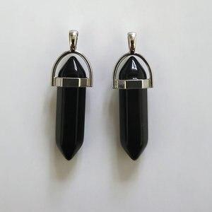 Image 3 - Pierres donyx noires naturelles, pendentifs en forme de balle, breloques Chakra, tendance pour la fabrication de bijoux, vente en gros, 24 pièces/lot