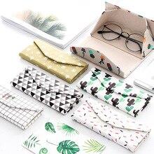 ZhenKeRou creative cute fresh striped glasses box PU case for sunglasses  triangle folding handmade