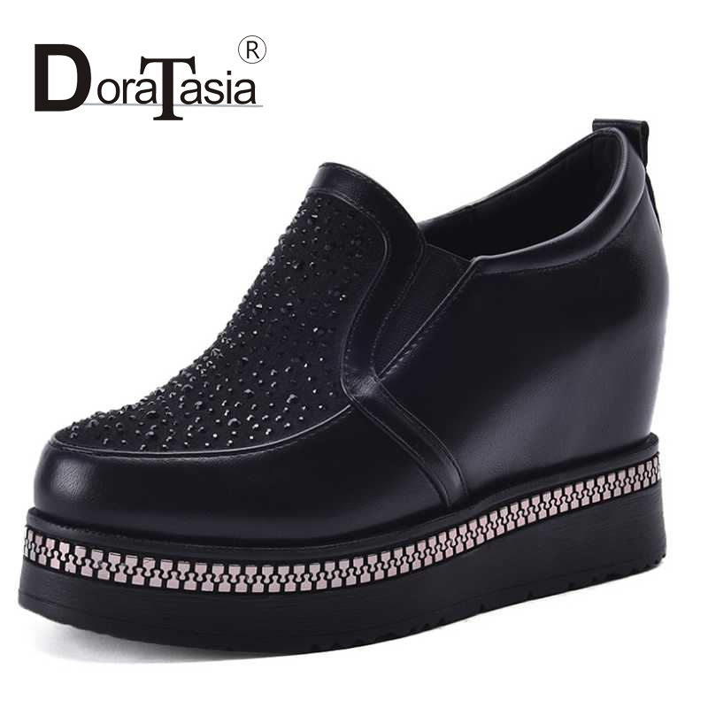 DoraTasia Size 34 39 Fashion font b Women b font Rhinestone High Heel Wedge Spring Autumn