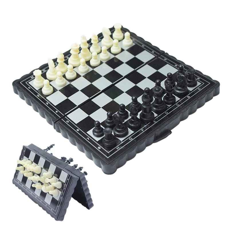 5x5 Inch Chess Portable Plastic Folding Board With Magnetic Chess Game Mini Chess Set Puzzle Party Family Event