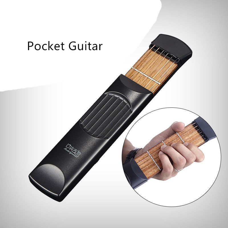 Zhenwei Pocket Guitar Guitarra Portable Acoustic Guitar Carrying Bag Gadget 6 String 4 Fret Model Vocal Toy Xmas Gift