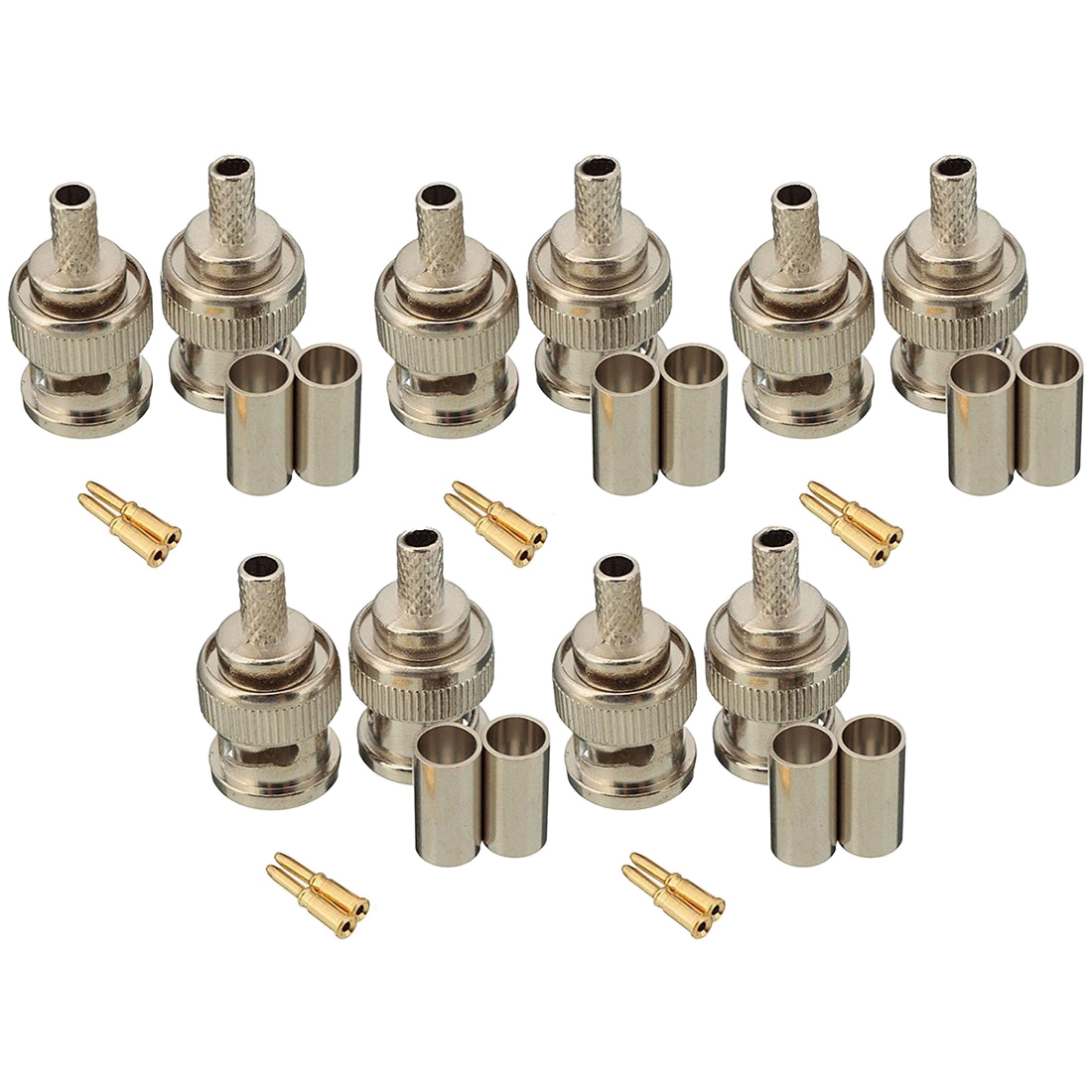 10 Sets 3-Piece BNC Male RG58 Plug Crimp Connectors