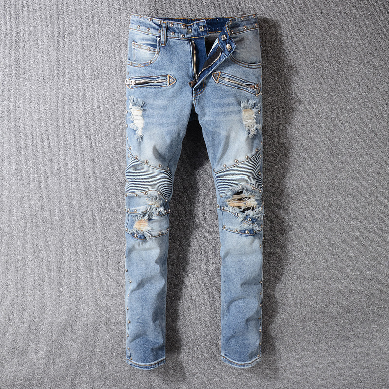 High Street Fashion Ripped Jeans Blue Color Rivets Decoration Hip Hop Jeans Men Punk Pants Skinny Fit Brand Biker Jeans Homme