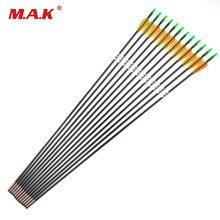 6/12/24pcs 30 Inches Fiberglass Arrow Diameter 6 mm 2 Orange 1 Green Vanes for Recurve Bow Practice Archery Hunting Shooting