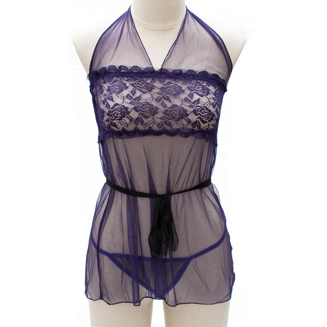 31a622dc8b7 2018 Hot Sale Women Lady Sheer Deep V-neck Halter Sexy Lingerie Babydoll  Sleepwear NightWear Set Deep Purple Retail+G-string