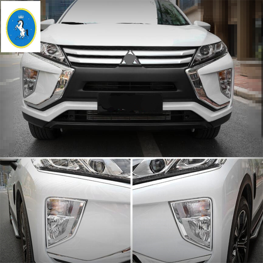 Yimaautotrims Auto Accessory Outside Front Fog Lights Lamps Frame Cover Trim ABS For Mitsubishi Eclipse Cross 2018 2019 / Bright