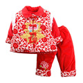 Baby Chinese New Year Blessing Exquisite Embroidery Tang Suit National Style Cotton Padded Jacket+Pants Chilren's Clothing Sets